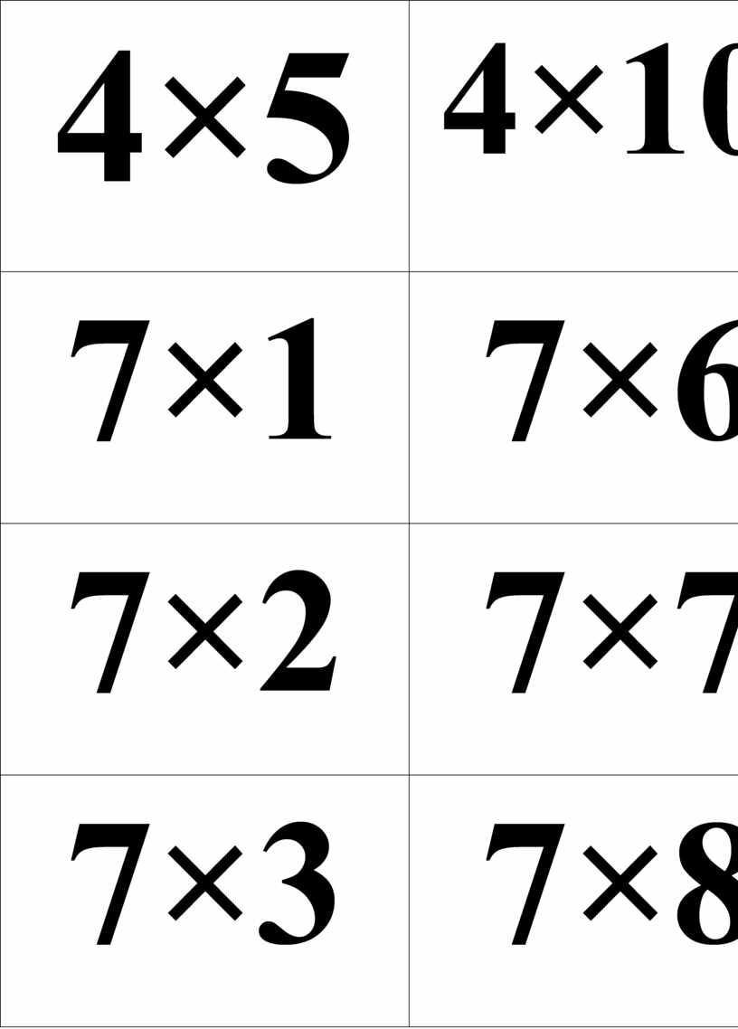 4×5 4×10 7×1 7×6 7×2 7×7 7×3 7×8 7×4 7×9