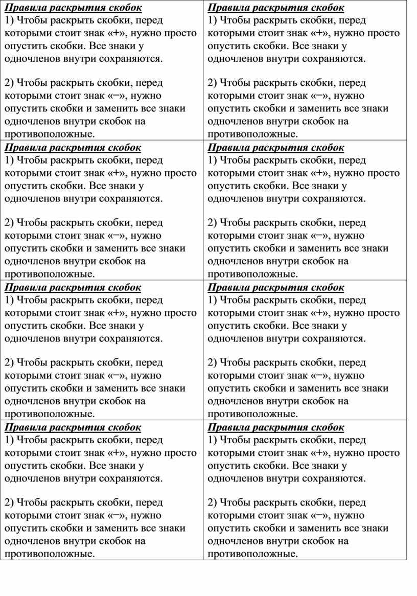 Правила раскрытия скобок 1)