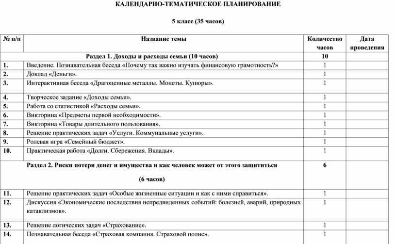 КАЛЕНДАРНО-ТЕМАТИЧЕСКОЕ ПЛАНИРОВАНИЕ 5 класс (35 часов) № п / п