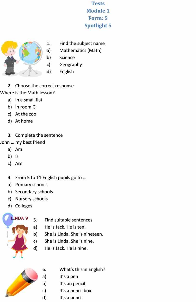 Tests Module 1 Form: 5 Spotlight 5 1