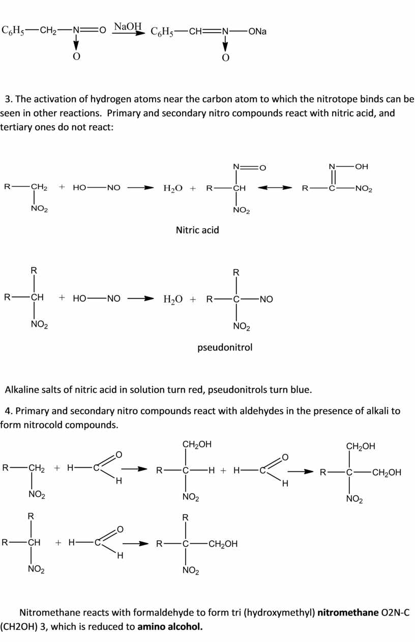 The activation of hydrogen atoms near the carbon atom to which the nitrotope binds can be seen in other reactions