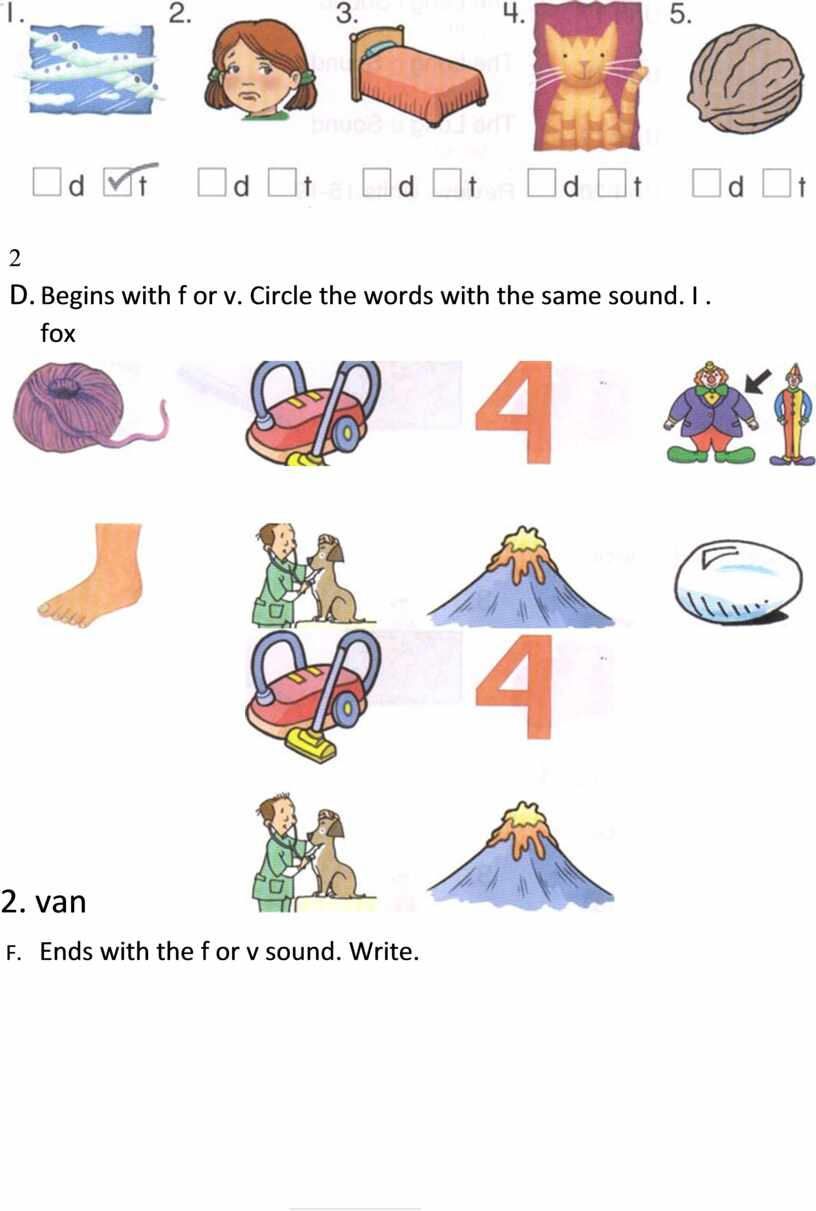 D. Begins with f or v. Circle the words with the same sound