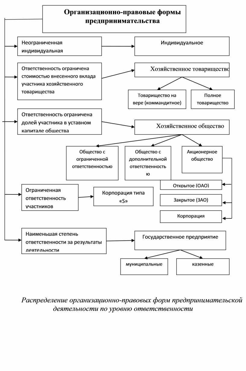 Распределение организационно-правовых форм предпринимательской деятельности по уровню ответственности