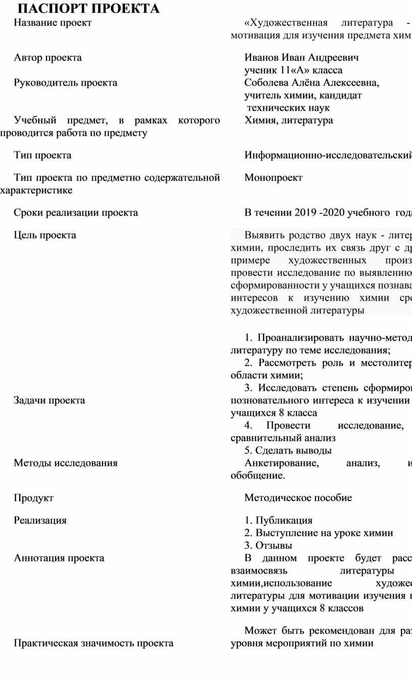 ПАСПОРТ ПРОЕКТА Название проект «
