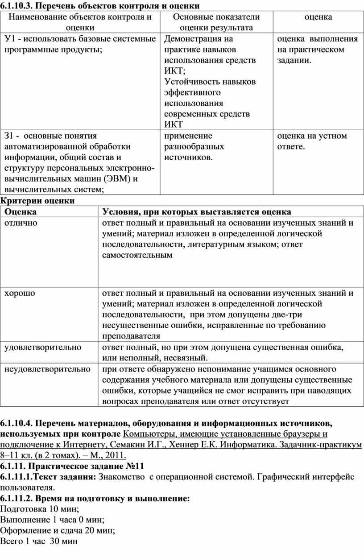 Перечень объектов контроля и оценки