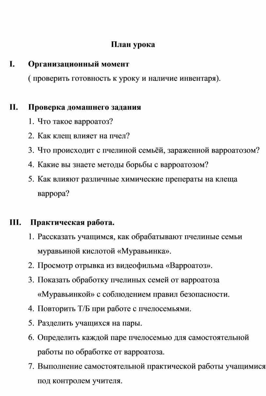 План урока I.