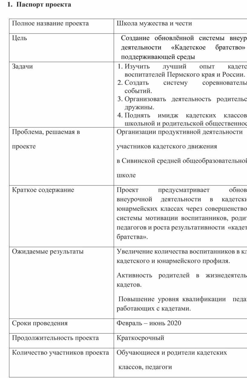 Паспорт проекта Полное название проекта