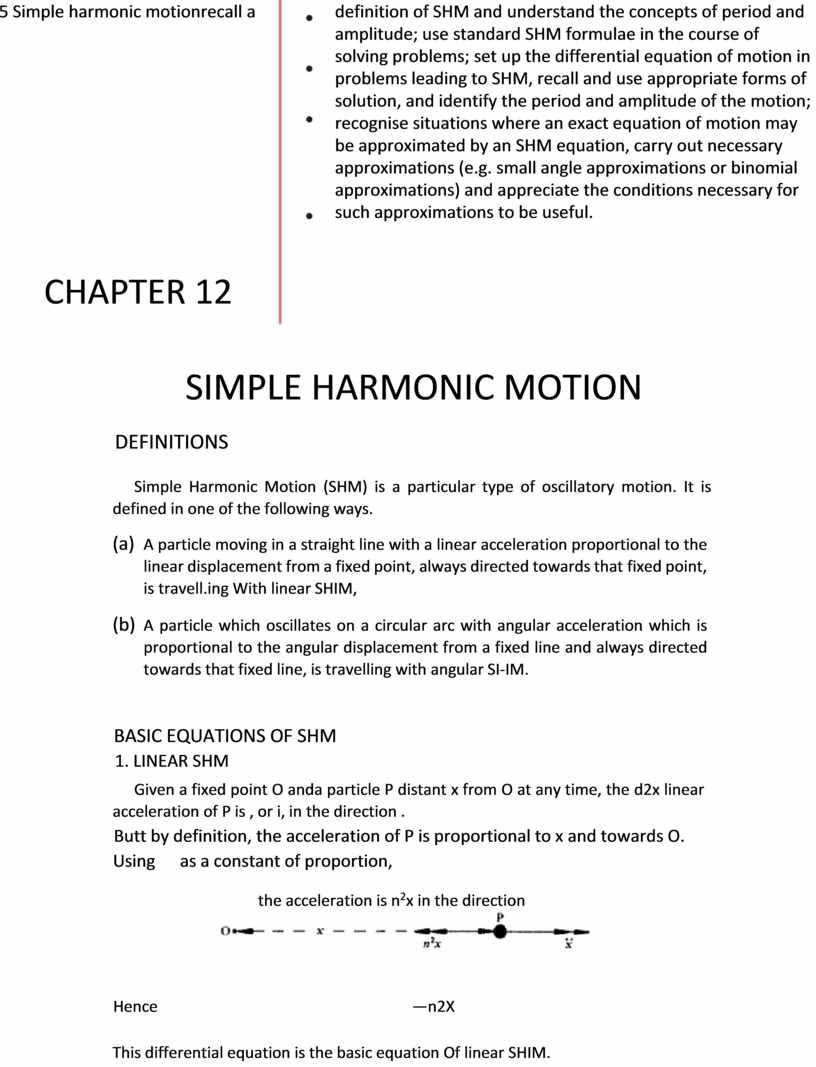 Simple harmonic motionrecall a definition of