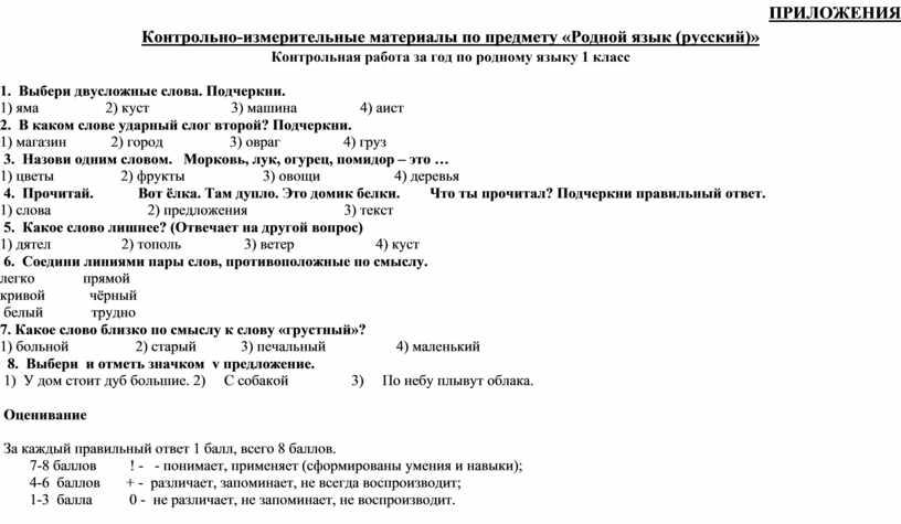 ПРИЛОЖЕНИЯ Контрольно-измерительные материалы по предмету «Родной язык (русский)»
