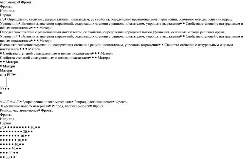Фронт.. Индивид. Парная, с/рОпределение степени с рациональным показателем, ее свойства, определение иррационального уравнения, основные методы решения иррац