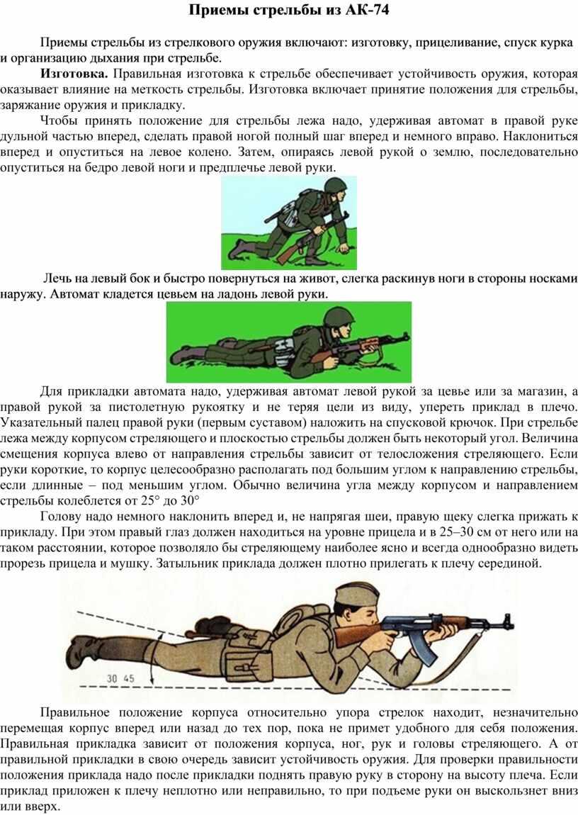 Приемы стрельбы из АК-74