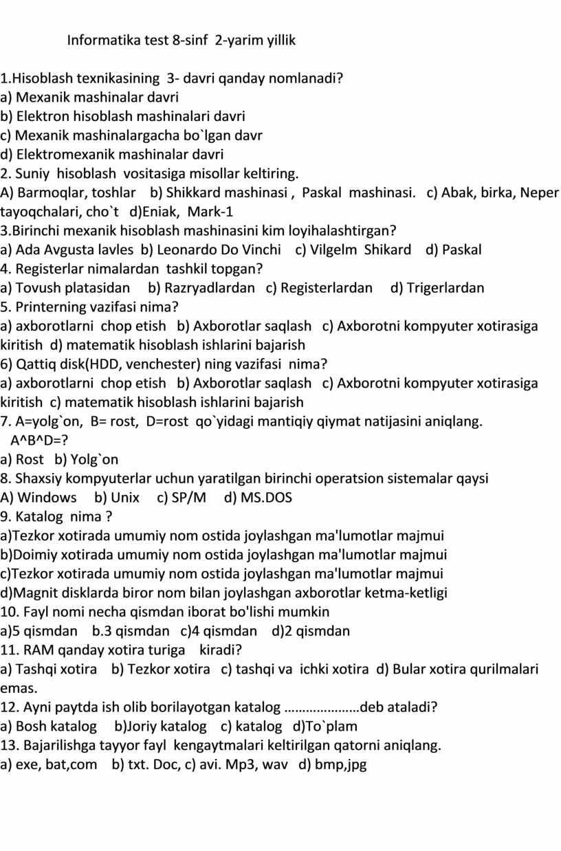 Informatika test 8-sinf 2-yarim yillik 1