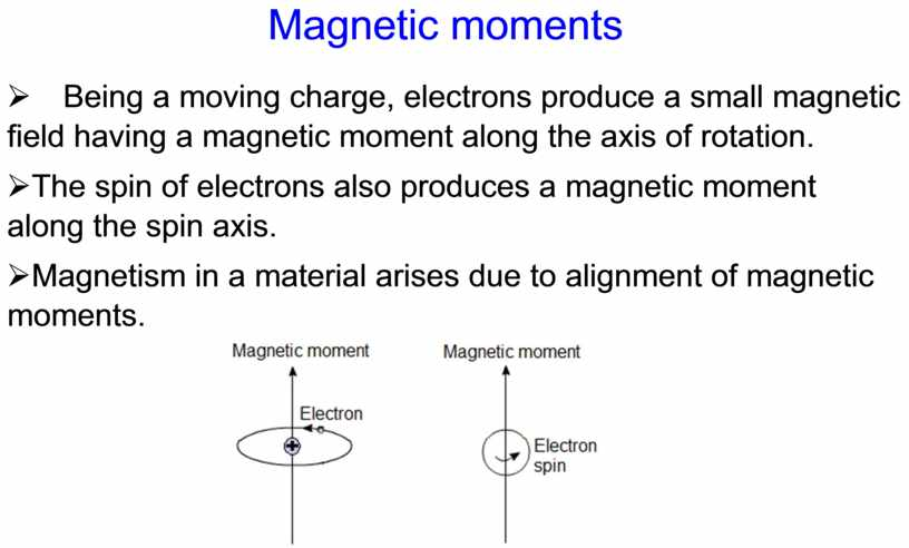Magnetic moments Ø Being a moving charge, electrons produce a small magnetic field having a magnetic moment along the axis of rotation