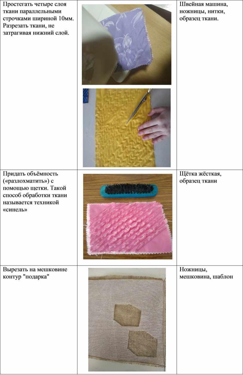 Простегать четыре слоя ткани параллельными строчками шириной 10мм