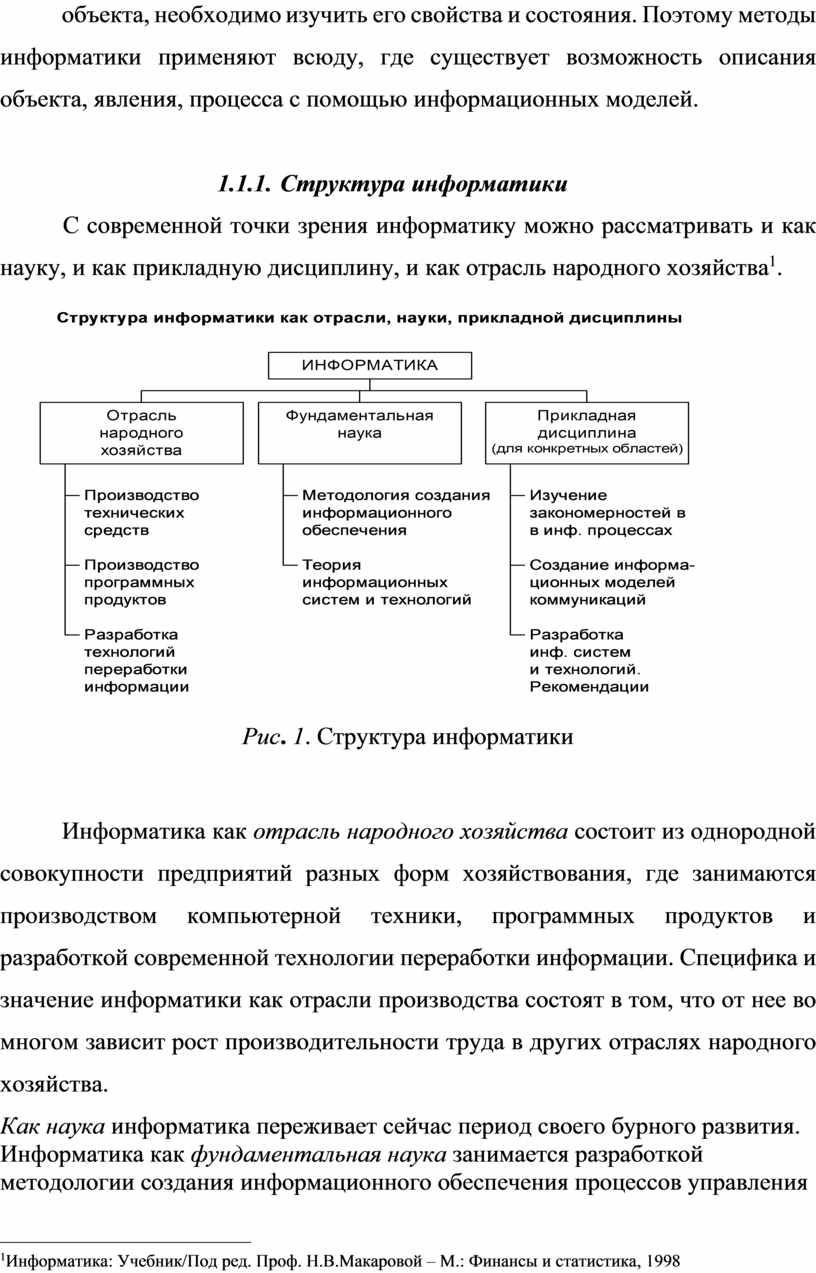 Поэтому методы информатики применяют всюду, где существует возможность описания объекта, явления, процесса с помощью информационных моделей