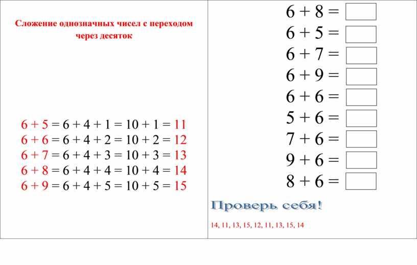 Сложение однозначных чисел с переходом через десяток 6 + 5 = 6 + 4 + 1 = 10 + 1 = 11 6 + 6…