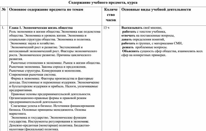 Содержание учебного предмета, курса №