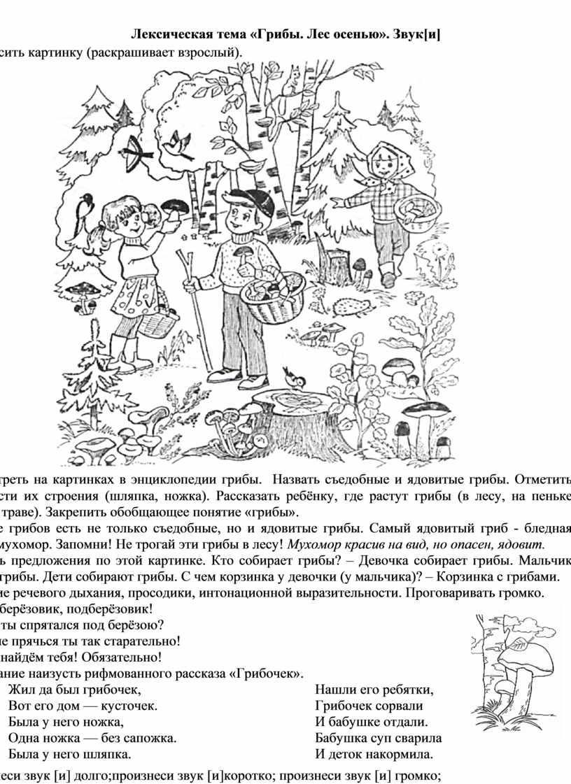 Лексическая тема «Грибы. Лес осенью»