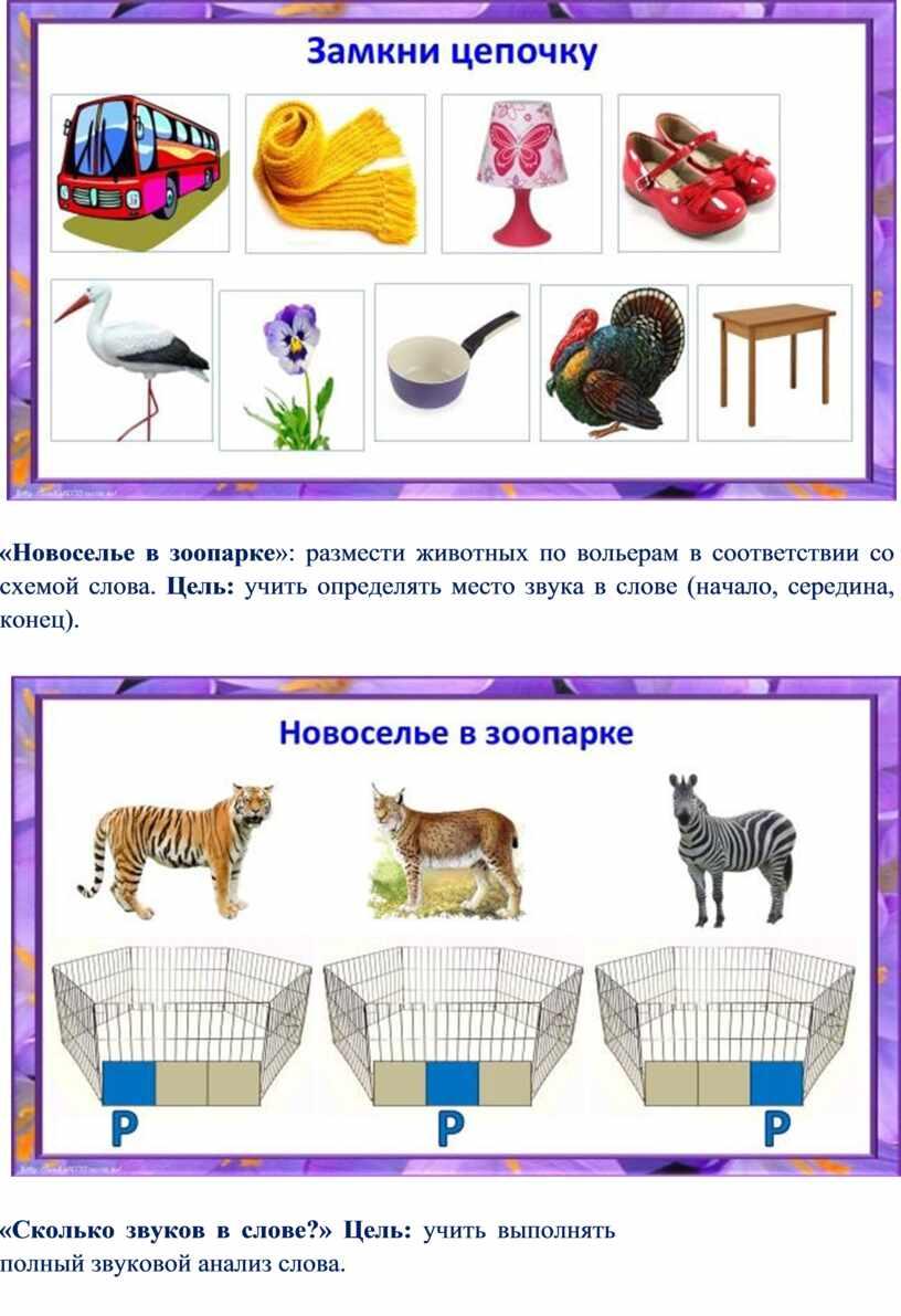 Новоселье в зоопарке »: размести животных по вольерам в соответствии со схемой слова