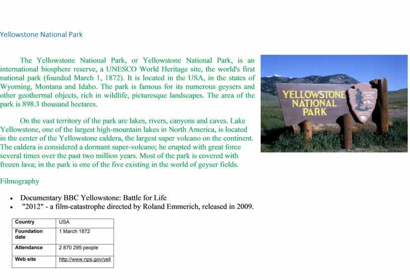 Yellowstone National Park Yellowstone