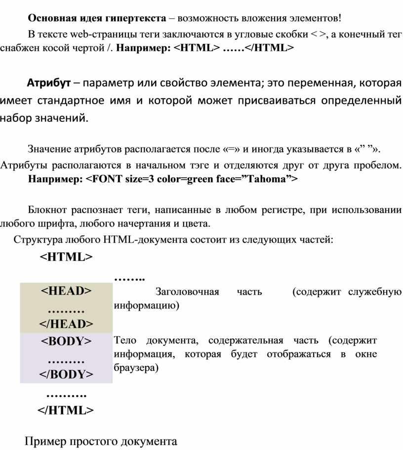 Основная идея гипертекста – возможность вложения элементов!