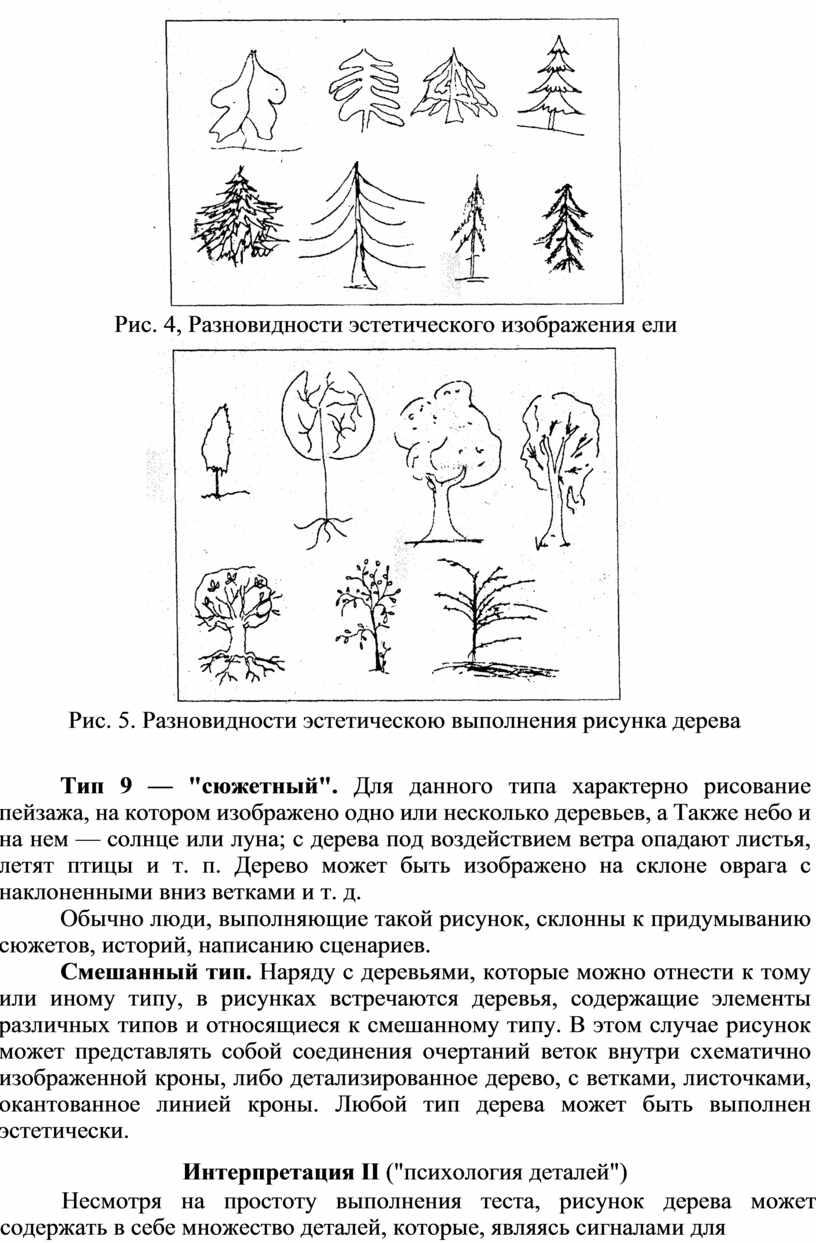 Рис. 4, Разновидности эстетического изображения ели