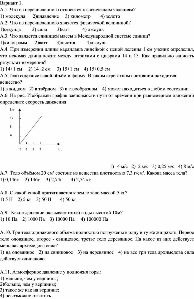 Вариант 1. А.1. Что из перечисленного относится к физическим явлениям? 1) молекула 2)плавление 3) километр 4) золото