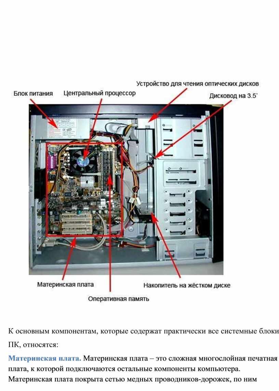 К основным компонентам, которые содержат практически все системные блоки