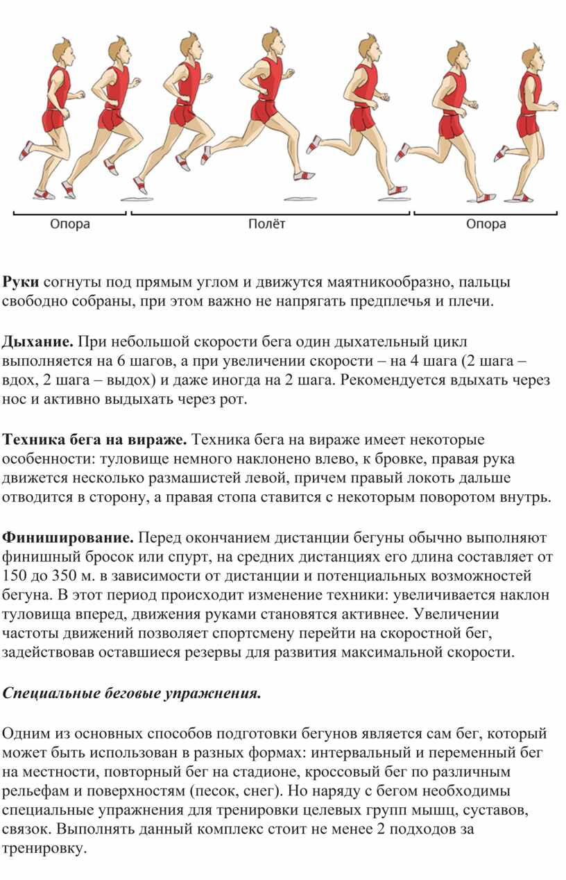 Руки согнуты под прямым углом и движутся маятникообразно, пальцы свободно собраны, при этом важно не напрягать предплечья и плечи