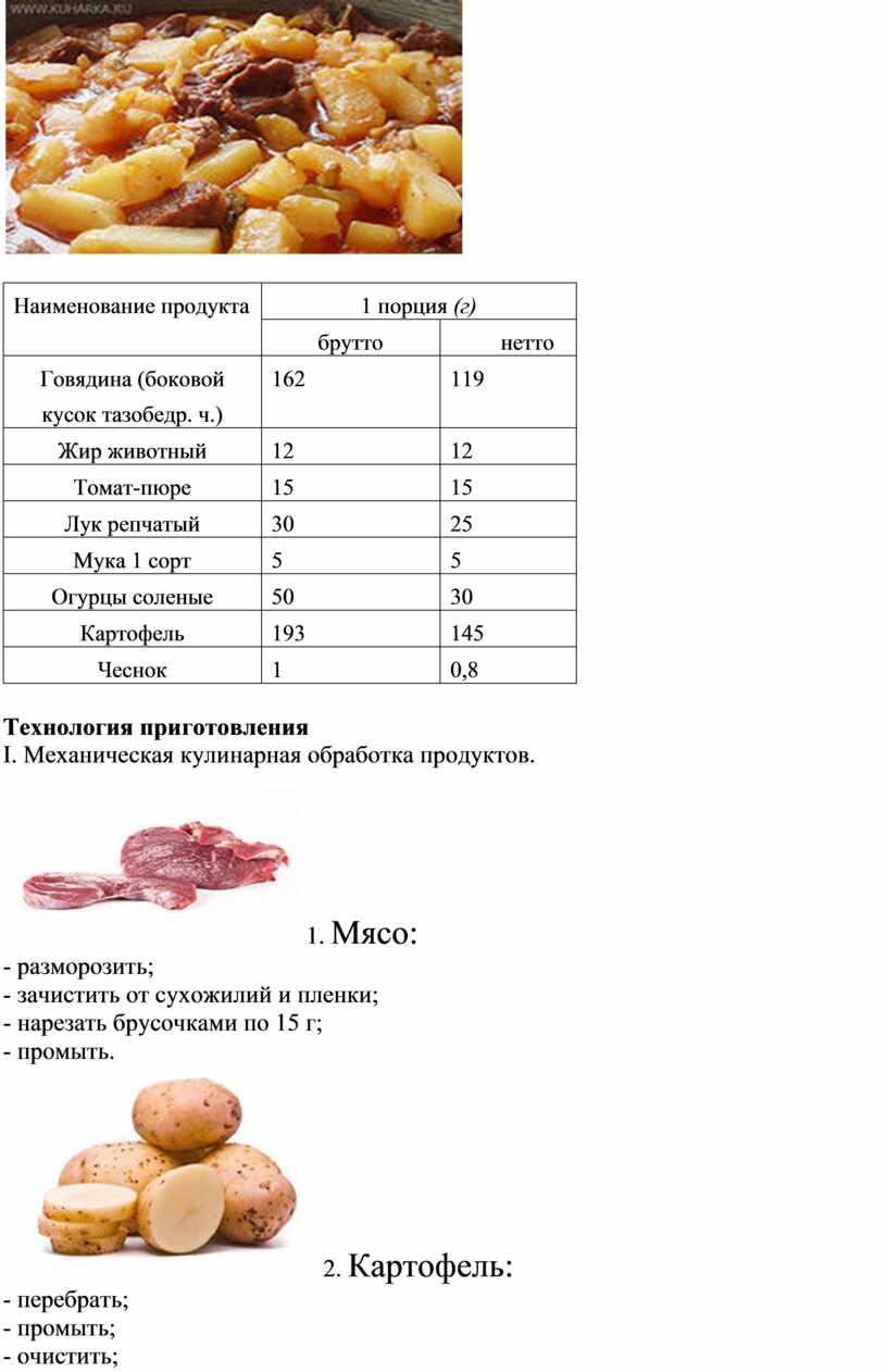 Наименование продукта 1 порция (г) брутто нетто