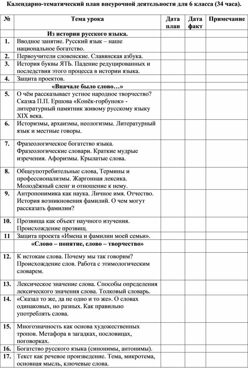 Календарно-тематический план внеурочной деятельности для 6 класса (34 часа)