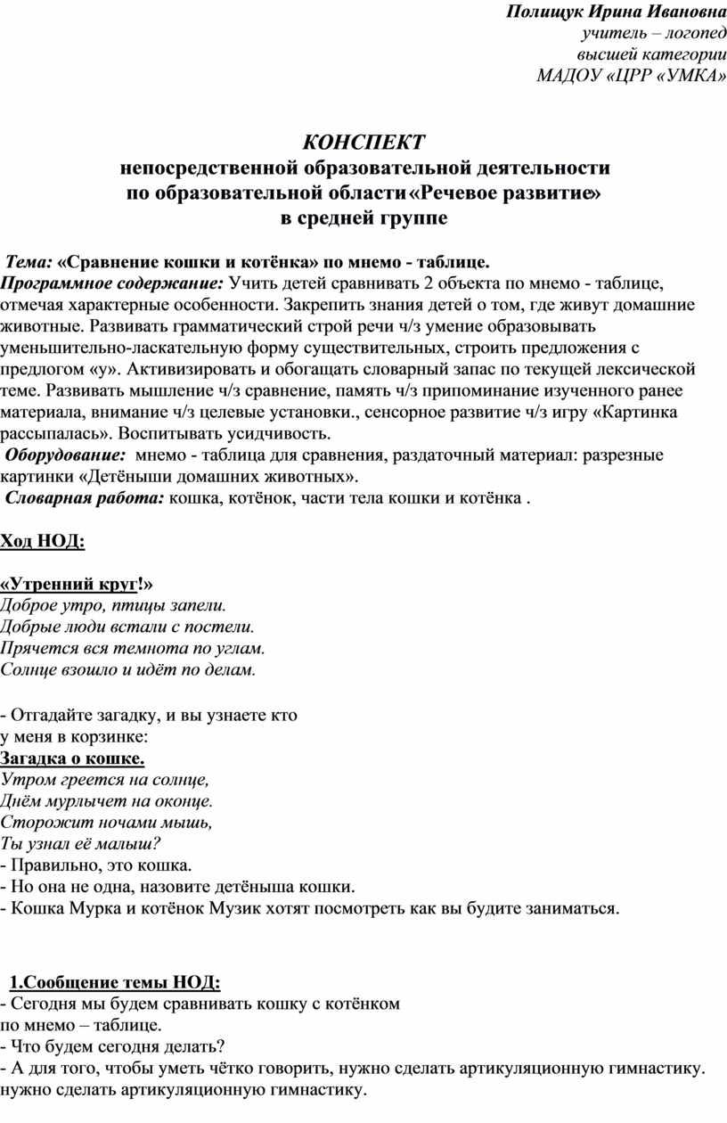 Полищук Ирина Ивановна учитель – логопед высшей категории