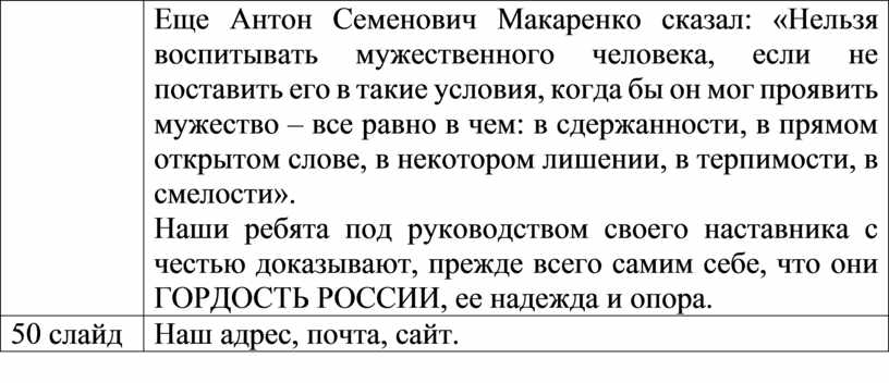 Еще Антон Семенович Макаренко сказал: «Нельзя воспитывать мужественного человека, если не поставить его в такие условия, когда бы он мог проявить мужество – все равно…