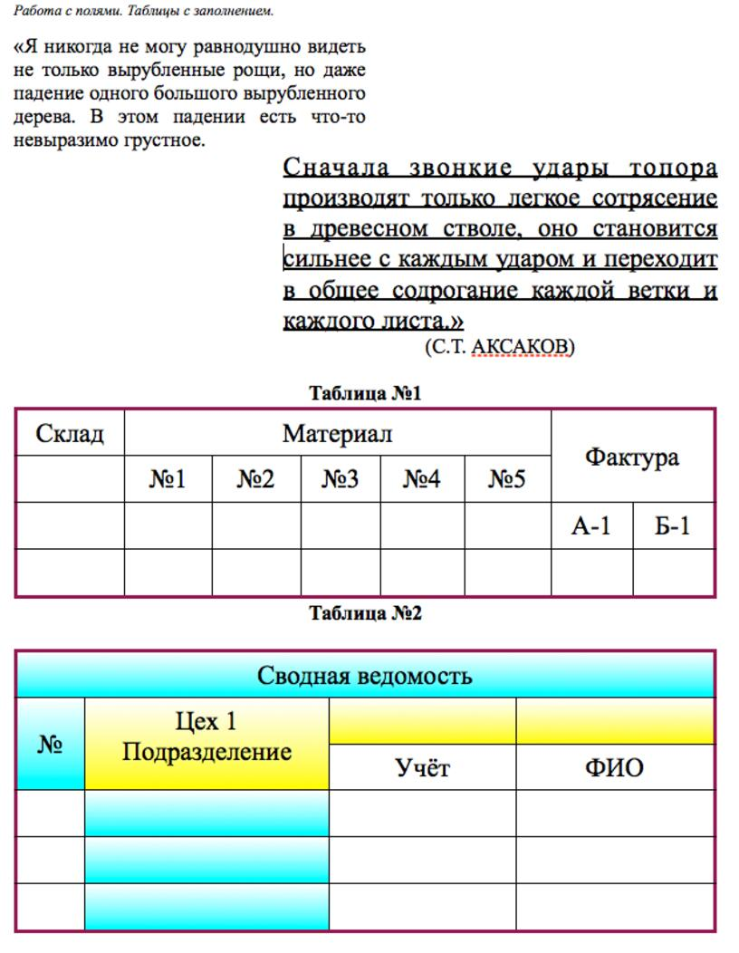 Таблицы в тексте. Маркированные списки