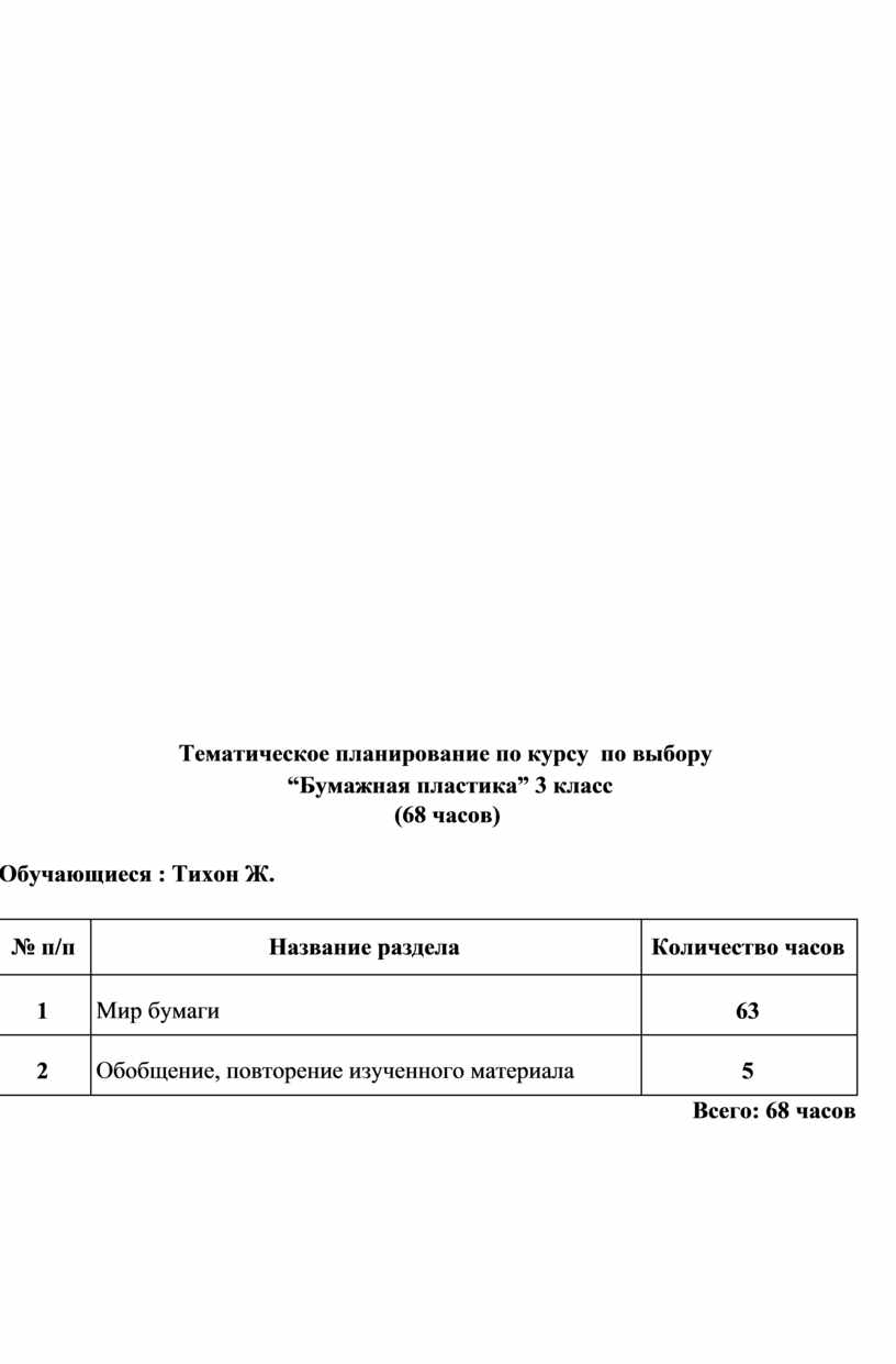 """Тематическое планирование по курсу по выбору  """"Бумажная пластика"""" 3 класс (68 часов)"""