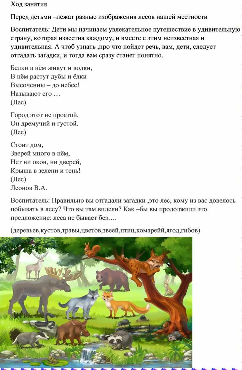Ход занятия Перед детьми –лежат разные изображения лесов нашей местности