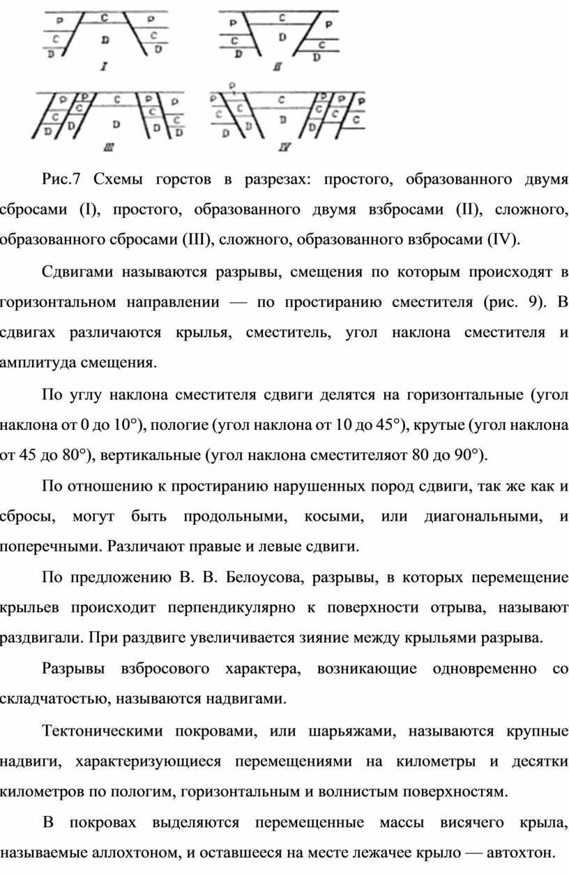 Рис.7 Схемы горстов в разрезах: простого, образованного двумя сбросами (I), простого, образованного двумя взбросами (II), сложного, образованного сбросами (III), сложного, образованного взбросами (IV)