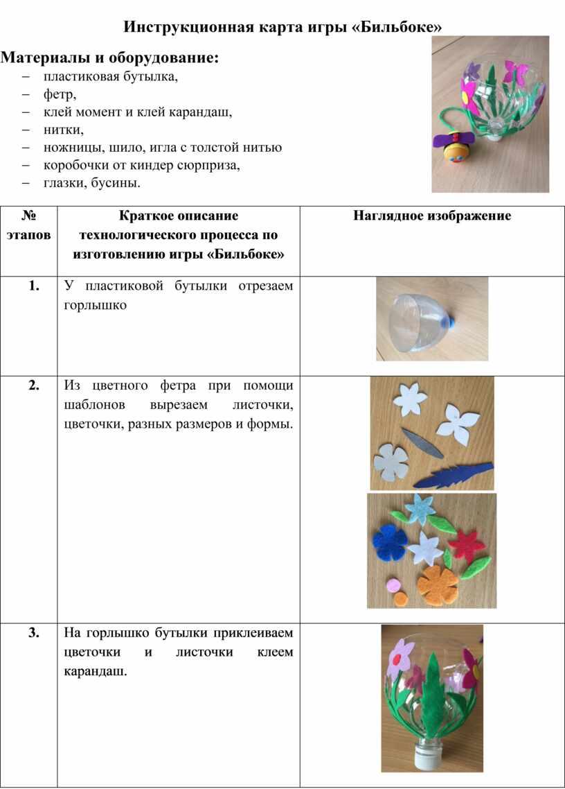 Инструкционная карта игры «Бильбоке»