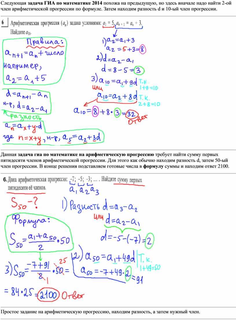 Следующая задача ГИА по математике 2014 похожа на предыдущую, но здесь вначале надо найти 2-ой член арифметической прогрессии по формуле
