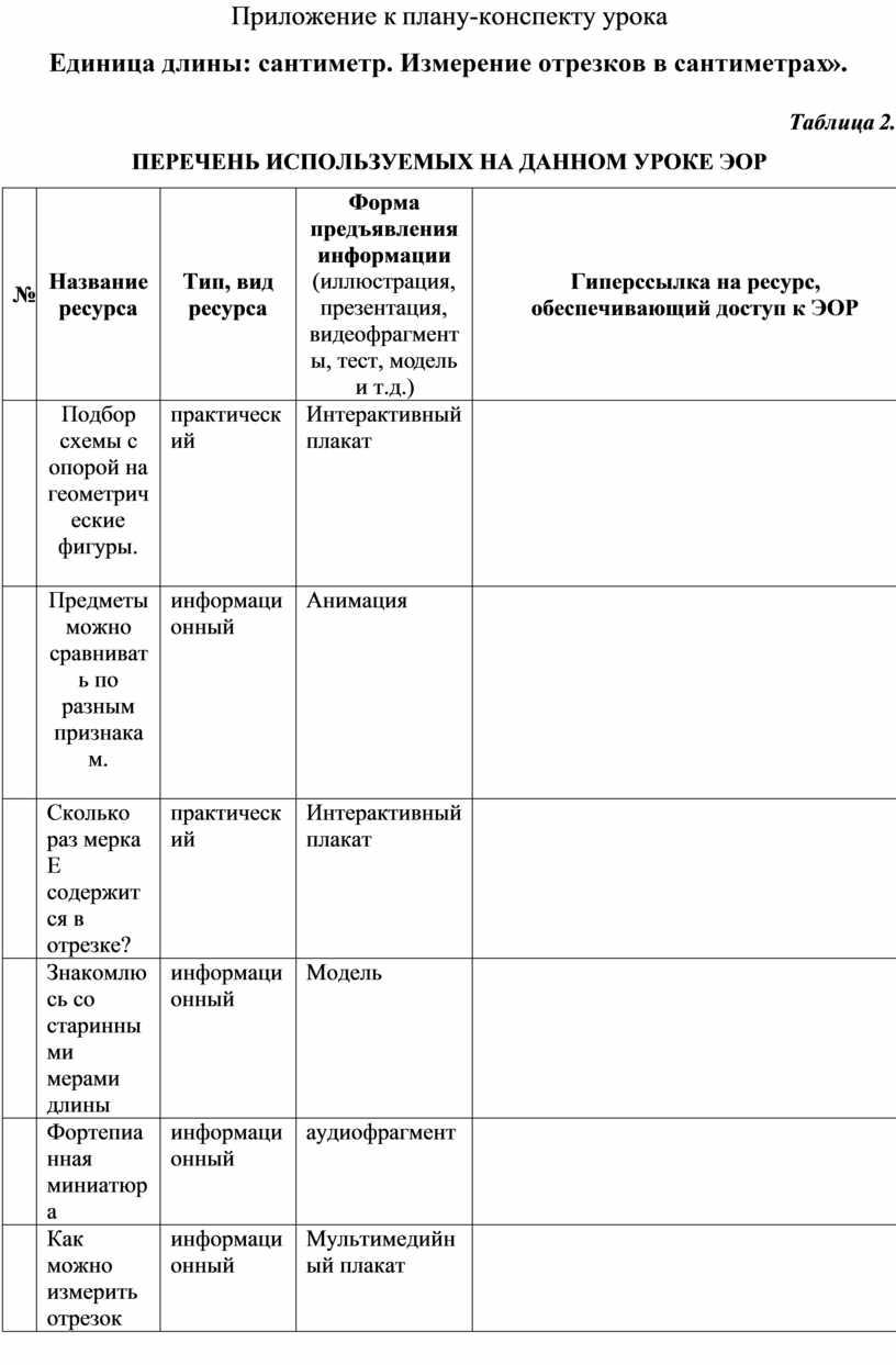 Приложение к плану-конспекту урока «Единица длины: сантиметр