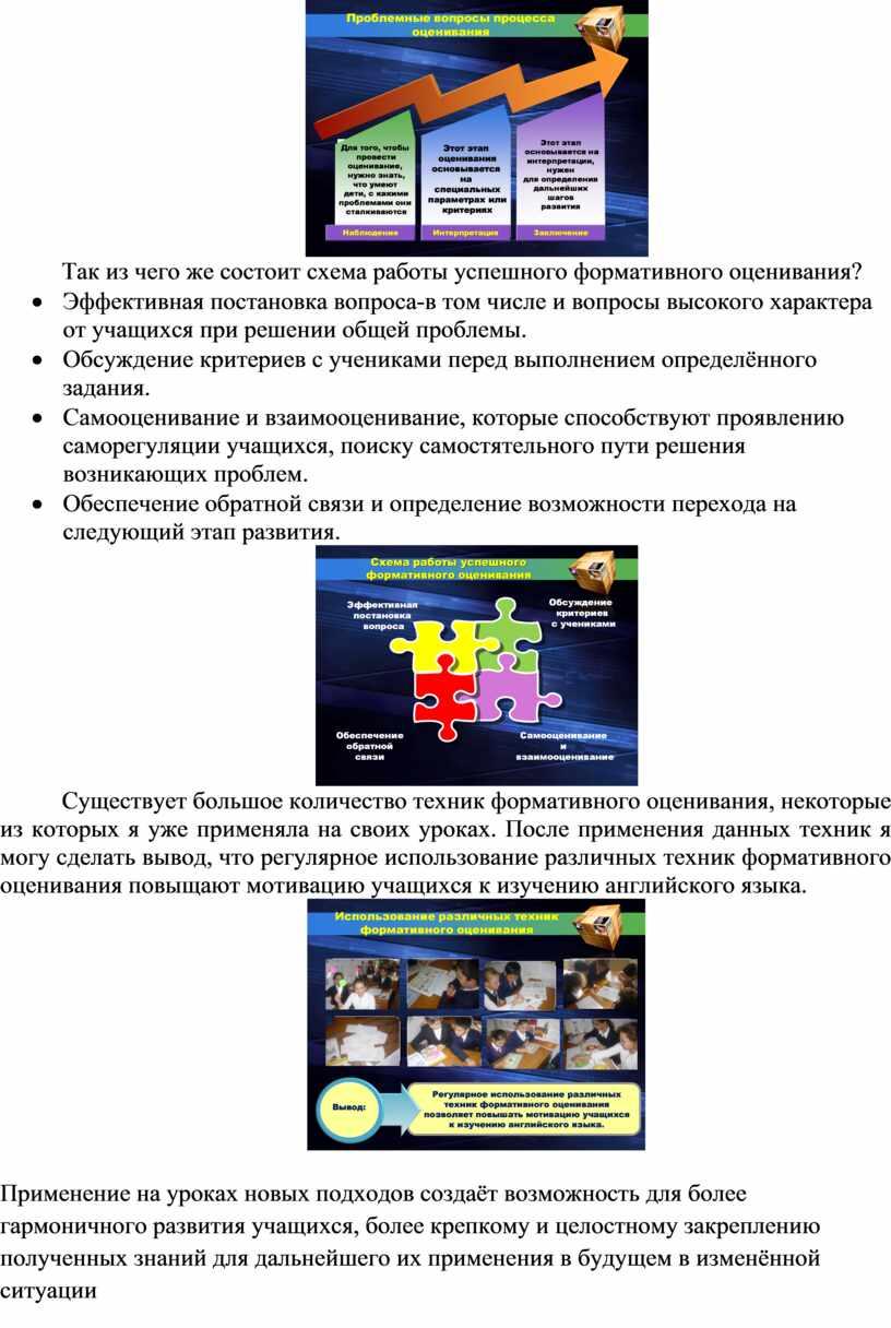 Так из чего же состоит схема работы успешного формативного оценивания? ·