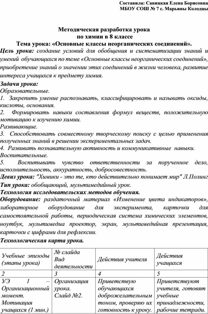 Составила: Савицкая Елена Борисовна
