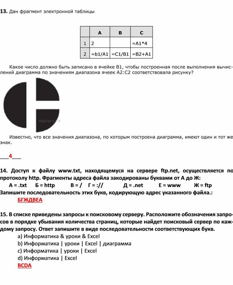 Дан фрагмент электронной таблицы