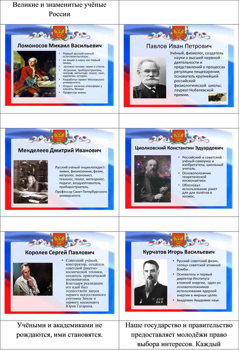 Великие и знаменитые учёные