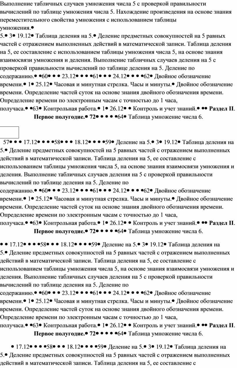 Выполнение табличных случаев умножения числа 5 с проверкой правильности вычислений по таблице умножения числа 5