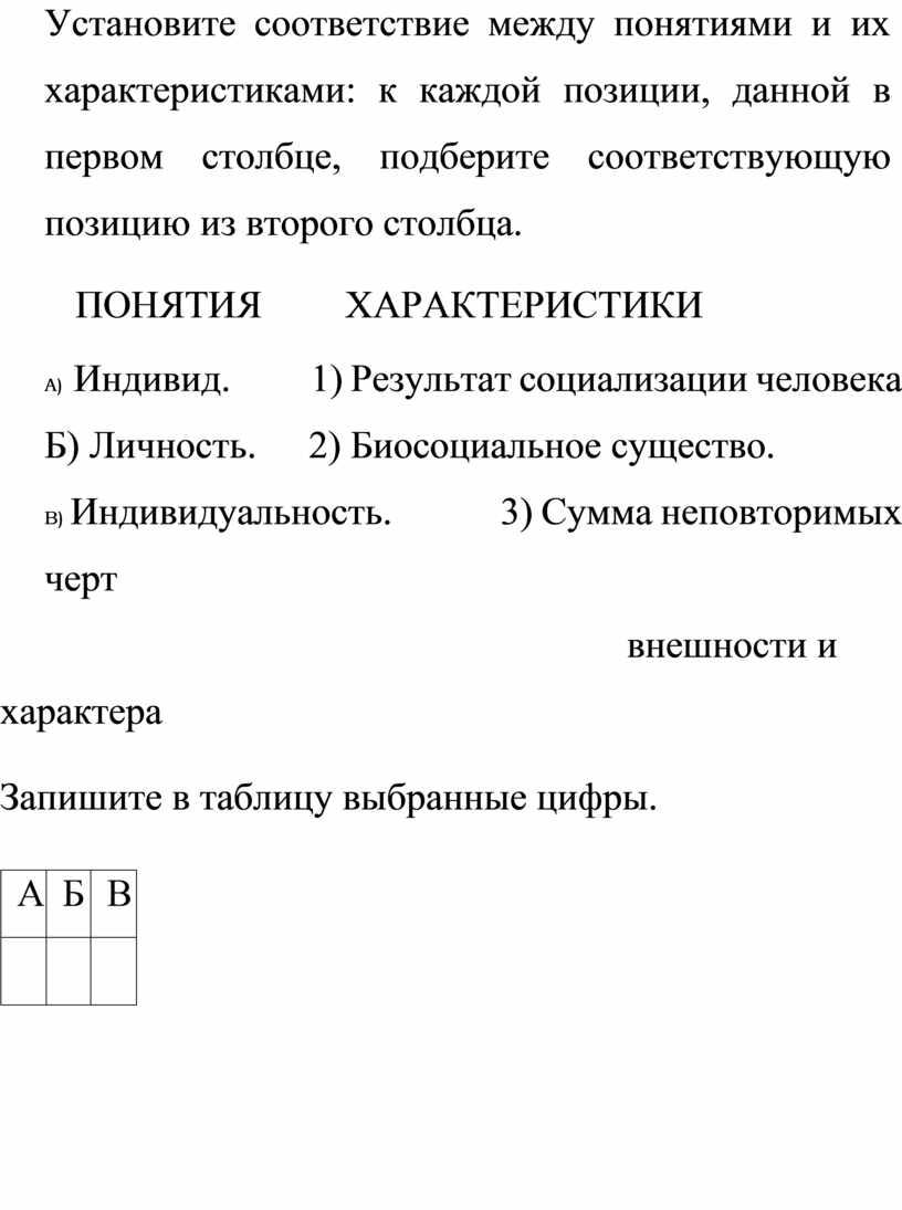 Установите соответствие между понятиями и их характеристиками: к каждой позиции, данной в первом столбце, подберите соответствующую позицию из второго столбца