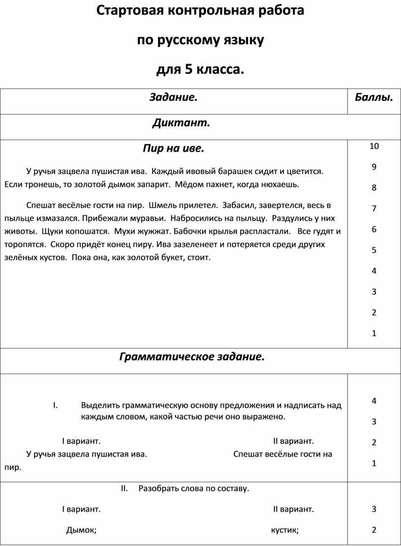 Стартовая контрольная работа по русскому языку для 5 класса