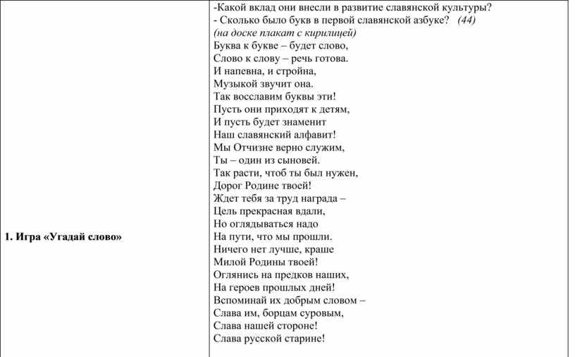 Игра «Угадай слово» -Какой вклад они внесли в развитие славянской культуры? -