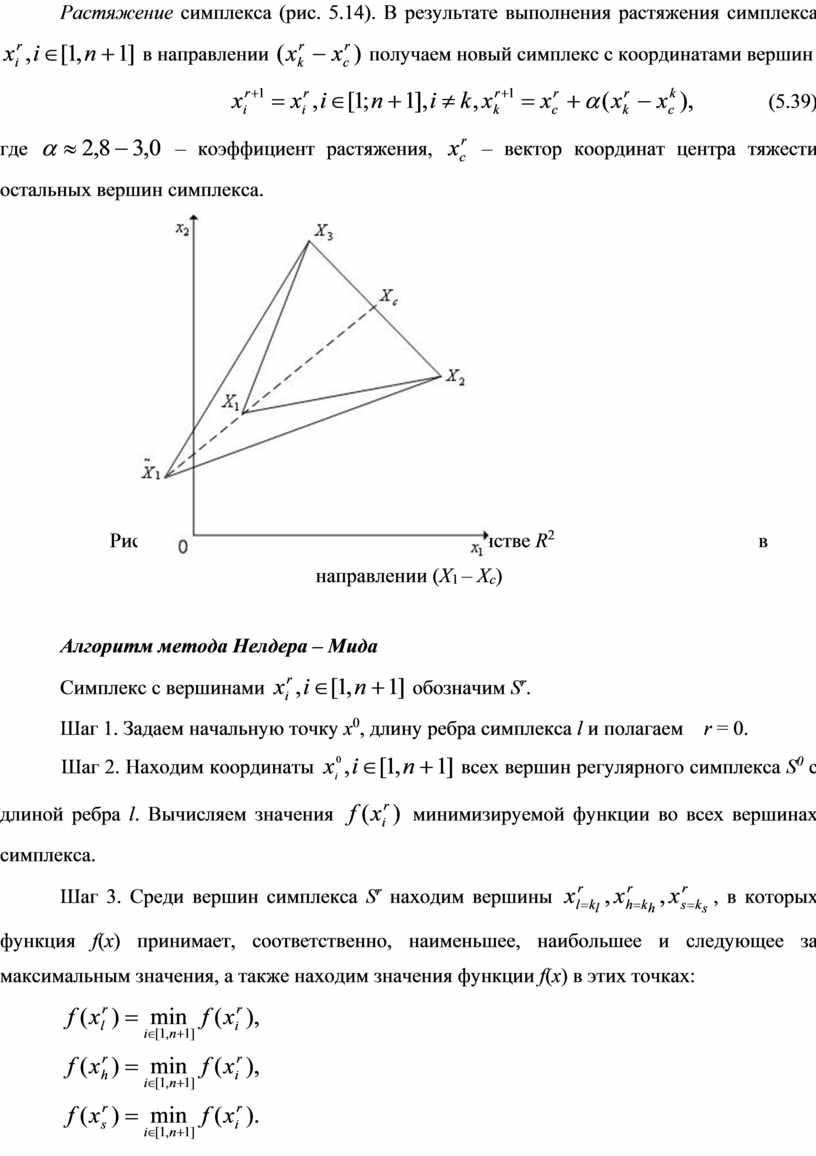 Растяжение симплекса (рис. 5.14)
