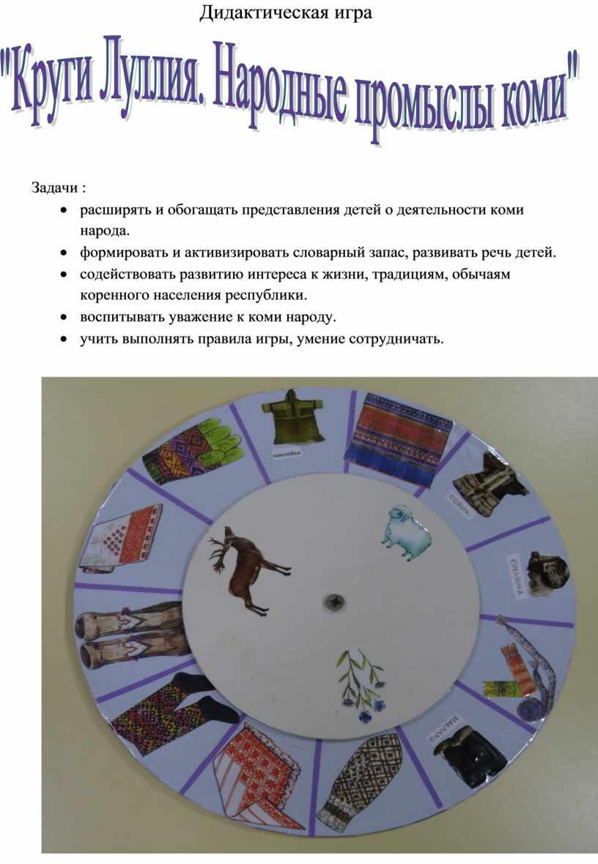 Дидактическая игра Задачи : · расширять и обогащать представления детей о деятельности коми народа